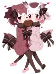 2girls adapted_costume blush bow cheek-to-cheek chocolate coat eurasian_eagle_owl_(kemono_friends) eyebrows_visible_through_hair food_in_mouth fur_collar gloves hands_together head_wings heart heart-shaped_pupils highres interlocked_fingers kemono_friends leg_between_thighs long_sleeves looking_at_viewer makuran mouth_hold multicolored_hair multiple_girls northern_white-faced_owl_(kemono_friends) one_eye_closed pantyhose short_hair simple_background symbol-shaped_pupils tail_feathers white_background