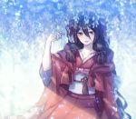 1girl black_hair brown_eyes flower hand_up long_hair looking_at_viewer moe_(hamhamham) personification pokemon seaking sitting solo very_long_hair wide_sleeves