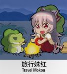 1girl bag bow campfire chibi chinese commentary_request english eyebrows_visible_through_hair frog fujiwara_no_mokou green_hat hair_bow hat knees_up long_hair night night_sky open_mouth outdoors pants puffy_short_sleeves puffy_sleeves red_eyes red_pants shangguan_feiying shirt short_sleeves sitting sky smile solo suspenders tabikaeru touhou translation_request very_long_hair white_bow white_hair white_shirt