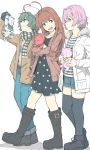 3girls :d ahoge alternate_costume ankle_boots bangs beret black_dress black_footwear black_gloves black_legwear boots brown_eyes brown_hair brown_jacket casual checkered checkered_scarf coat denim denim_shorts dress eyebrows_visible_through_hair fang full_body gloves grin hand_in_pocket hat heart_ahoge holding huge_ahoge jacket jeans kantai_collection kiso_(kantai_collection) knee_boots kuma_(kantai_collection) long_sleeves multiple_girls ninimo_nimo object_hug open_clothes open_coat open_mouth pants pink_hair pocket polka_dot polka_dot_dress profile red_eyes red_jacket scarf shiny shiny_hair shirt short_hair shorts simple_background smile striped striped_shirt stuffed_animal stuffed_toy tama_(kantai_collection) teddy_bear teeth thigh-highs two-handed walking white_background white_coat white_hat