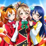 3girls bangs blue_eyes blue_hair bow butterfly_hair_ornament commentary_request earrings eyebrows_visible_through_hair grey_hair hair_between_eyes hair_bow hair_ornament hand_on_another's_shoulder jewelry kousaka_honoka long_hair looking_at_viewer love_live! love_live!_school_idol_project love_live!_the_school_idol_movie minami_kotori multiple_girls neck_ribbon one_eye_closed one_side_up open_mouth orange_hair ribbon sandwiched smile sonoda_umi sunny_day_song upper_body wewe