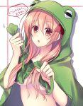 1girl :o breasts chaos;head hood hoodie long_hair looking_at_viewer naked_hoodie nishijou_myu pink_eyes pink_hair poncho sakihata_rimi solo under_boob