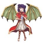 1girl dragon_girl dragon_wings fire_emblem fire_emblem:_seima_no_kouseki gem highres holding looking_at_viewer myrrh purple_hair red_eyes sandals simple_background smile solo twintails white_background wings