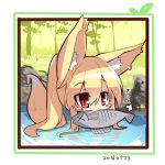 1girl animal animal_ears bangs blonde_hair blush_stickers chibi dated day eyebrows_visible_through_hair fish fish_in_mouth fox_ears fox_girl fox_tail hair_between_eyes high_ponytail long_hair looking_at_viewer mouth_hold original outdoors partially_submerged ponytail red_eyes solo tail translation_request tree very_long_hair water wet wet_hair x_x yuuji_(yukimimi)