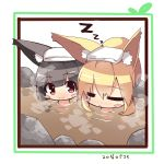 animal_ears bangs black_hair blonde_hair blush blush_stickers chibi closed_eyes closed_mouth dated eyebrows_visible_through_hair fox_ears fox_girl hair_between_eyes long_hair nose_blush nude original parted_lips partially_submerged red_eyes rock sidelocks sleeping sleeping_upright steam towel towel_on_head yuuji_(yukimimi) zzz