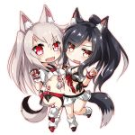 2girls :d animal_ears azur_lane black_hair braid breasts chibi claw_pose cleavage collarbone commentary_request fangs highres koda long_hair looking_at_viewer multiple_girls nail_polish navel open_mouth orange_eyes pleated_skirt ponytail red_eyes school_uniform serafuku shigure_(azur_lane) silver_hair simple_background single_braid skirt smile standing standing_on_one_leg stuffed_wolf tail tattoo two_side_up under_boob wolf_ears wolf_tail wrist_cuffs wristband yuudachi_(azur_lane)