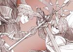 2boys armor cape ephraim falchion_(fire_emblem) fire_emblem fire_emblem:_seima_no_kouseki fire_emblem_heroes gloves krom male_focus monochrome multiple_boys polearm sayoyonsayoyo short_hair smile spear sword weapon