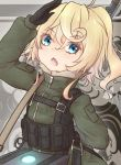 1girl ammunition_belt aqua_eyes arm_behind_back black_gloves blonde_hair chestnut_mouth commentary_request coreytaiyo eyebrows_visible_through_hair firearm fur gloves gun long_sleeves looking_at_viewer military_jacket pocket salute solo strap tanya_degurechaff turtleneck vest weapon youjo_senki zipper