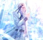 absol androgynous belt blurry blurry_background braid feathers fur_trim inside jacket lens_flare long_hair moe_(hamhamham) pants personification pokemon red_eyes solo stained_glass standing white_hair white_pants