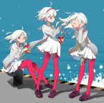 3girls eating hairband kaekae leggings multiple_girls open_mouth original short_hair water white_hair
