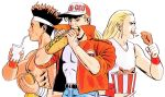 3boys andy_bogard baseball_cap black_hair blonde_hair bucket_of_chicken chicken_(food) drink drinking_straw eating fatal_fury food hamburger hat headband highres holding holding_food jacket joe_higashi long_hair male_focus mori_toshiaki multiple_boys ninja official_art oldschool open_mouth sandwich spiky_hair terry_bogard upper_body