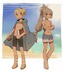 2boys beach blonde_hair book cloak crossed_arms fire_emblem fire_emblem_if highres holding holding_book leon_(fire_emblem_if) looking_at_viewer male_swimwear multiple_boys ponytail shorts swim_trunks swimwear takumi_(fire_emblem_if) tomato white_hair