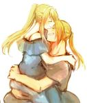 1boy 1girl bangs blonde_hair blue_dress carrying closed_eyes couple dress earrings edward_elric eyebrows_visible_through_hair fullmetal_alchemist grey_shirt happy hetero hug jewelry long_hair ponytail shirt simple_background smile tsukuda0310 white_background winry_rockbell