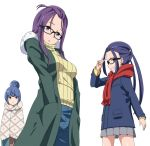 3girls :o bangs bangs_pinned_back black-framed_eyewear blue_coat blue_eyes blue_hair blue_pants coat denim eyebrows_visible_through_hair glasses green_coat grey_skirt grin hair_bun hands_in_pockets jeans kagamihara_sakura long_hair long_sleeves looking_at_viewer miniskirt multiple_girls oogaki_chiaki open_clothes open_coat pants pleated_skirt purple_hair red_scarf ribbed_sweater ribonzu scarf shima_rin sidelocks skirt smile sweater turtleneck turtleneck_sweater twintails v violet_eyes white_background winter_clothes winter_coat yellow_sweater yurucamp