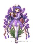 1girl book dress flower flower_knight_girl green_eyes hat lavender_(flower) lavender_(flower_knight_girl) long_hair looking_at_viewer nakaishow open_book open_mouth purple_hair solo thigh-highs walking watermark white_background white_legwear