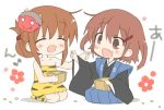 >:) 2girls :d anchor_symbol animal_print bean blush brown_eyes brown_hair chibi closed_eyes commentary_request fang feeding folded_ponytail hair_ornament hairclip hizuki_yayoi ikazuchi_(kantai_collection) inazuma_(kantai_collection) kantai_collection masu multiple_girls o_o oni_costume oni_mask open_mouth seiza setsubun short_hair simple_background sitting smile tiger_print white_background
