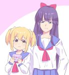 2girls :3 bangs blouse blue_eyes blush bow closed_mouth eyebrows_visible_through_hair hair_bow hair_ornament hair_scrunchie height_difference holding holding_letter imamiyajet letter long_hair long_sleeves looking_at_viewer love_letter multiple_girls neckerchief pipimi poptepipic popuko purple_hair red_bow red_neckwear sailor_collar scrunchie shirt short_hair two-tone_background upper_body white_background white_shirt yellow_eyes yellow_scrunchie