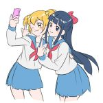 2girls :3 alternate_hair_color bangs blonde_hair blouse blue_eyes blue_hair blue_sailor_collar blue_skirt blunt_bangs blush bow closed_mouth grey_shirt hair_bow hand_on_another's_back holding holding_phone jiayu_long leaning_forward long_hair long_sleeves looking_at_phone middle_finger multiple_girls neckerchief phone pink_bow pink_neckwear pipimi pleated_skirt poptepipic popuko pose sailor_collar self_shot shiny shiny_hair shirt short_hair simple_background skirt white_background yellow_eyes