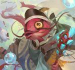 ! 1boy artist_name black_hat bubble dated dragon_tail facial_hair fish furry hat japanese_clothes kresop male_focus mustache onmyoji open_mouth solo staff tail umibozu_(onmyoji)