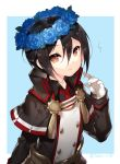 1girl bangs black_capelet black_hair black_jacket blue_background blue_flower brown_eyes capelet eyebrows_visible_through_hair flower flower_wreath gloves hair_between_eyes head_wreath jacket long_sleeves looking_at_viewer meleph_(xenoblade) military military_jacket military_uniform necktie parted_lips red_neckwear saru solo twitter_username two-tone_background uniform upper_body white_background white_gloves xenoblade xenoblade_2