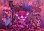 1girl blue_eyes cell chicken fan gears indoors lightbulb long_hair natoyuka original purple_hair rabbit robot striped_shirt stuffed_animal tagme