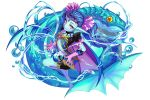 1girl barefoot blue_hair blue_skin bubble circlet dragon_egg fish flat_chest gloves hair_ornament highres long_hair looking_at_viewer midriff pointy_ears purple_gloves red_eyes short_sleeves standing standing_on_one_leg water yasu8hasu