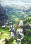 ambiguous_gender arrow bird fantasy grass highres horse makkou_4 original ponytail quiver saddle scenery sheath sheathed signature sword weapon white_hair white_horse