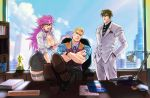 1girl 2boys alternate_costume breasts brown_hair city cleavage cody_travers crossed_arms final_fight formal frown gai_(final_fight) hair_slicked_back hands_in_pockets looking_at_viewer mike_haggar multiple_boys office poison_(final_fight) smile street_fighter street_fighter_v waistcoat wallace_pires watch watch window
