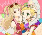 aikatsu! bare_shoulders blonde_hair blush bracelet braid detached_sleeves earrings green_eyes grin hair_ornament heart idol jewelry lipstick_mark long_hair looking_at_viewer midriff multicolored_hair multiple_girls nail_polish natsuki_mikuru navel open_mouth pink_background red_eyes sakana_(skn) shinjou_hinaki short_hair shorts simple_background smile star star_hair_ornament sunglasses two_side_up