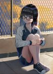 1girl black-framed_eyewear black_hair chain-link_fence ddoalo fence glasses highres jacket knees_up long_hair looking_at_viewer original shoes shorts sitting sneakers