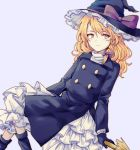 1girl blonde_hair boots bow braid broom broom_riding coat commentary_request forbidden_scrollery hat hat_bow kirisame_marisa legs_crossed light_smile long_sleeves looking_away petticoat side_braid single_braid solo touhou trench_coat turtleneck uranaishi_(miraura) witch_hat yellow_eyes