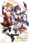 2girls alternate_hairstyle back-to-back blue_eyes blue_hair commentary_request detached_sleeves fingerless_gloves floating floral_print gloves hair_between_eyes hair_ornament hair_ribbon highres holding holding_sword holding_weapon japanese_clothes kimono kousaka_honoka kunai leg_garter long_hair looking_at_viewer love_live! love_live!_school_idol_festival love_live!_school_idol_project multiple_girls ninja one_side_up open_mouth orange_hair osa_(sette_mari) ponytail reverse_grip ribbon scarf sheath short_kimono short_sword sleeveless sonoda_umi striped sword thigh-highs weapon white_legwear yellow_eyes