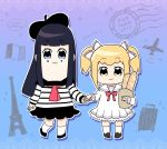 2girls aircraft airplane alternate_hair_color arms_up bag baguette bkub_(style) black_footwear black_hair black_hat black_skirt blonde_hair blue_background blue_eyes bow bread brown_bag commentary_request copyright_name dress eiffel_tower eyebrows_visible_through_hair food full_body grocery_bag hair_bow hand_holding hat holding holding_food imamiyajet long_hair long_sleeves looking_at_viewer multicolored_bow multiple_girls paper_bag pipimi poptepipic popuko postage_stamp red_bow sailor_collar sailor_dress shirt shopping_bag short_hair skirt socks striped striped_shirt suitcase white_bow white_legwear white_sailor_collar yellow_eyes