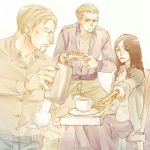 1girl 2boys blonde_hair coffee coffee_cup crutch multiple_boys pieck porco_galliard reiner_braun shingeki_no_kyojin