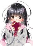 1girl bangs black_hair blush breath brown_eyes commentary_request covering_mouth gift grey_sweater heart-shaped_box highres holding holding_gift long_hair long_sleeves original pink_scarf red_neckwear sakuragi_ren scarf snowing solo upper_body valentine white_background