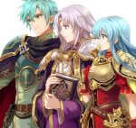 2900cm 2boys armor blue_hair brother_and_sister cape eirika ephraim fire_emblem fire_emblem:_seima_no_kouseki fire_emblem_heroes long_hair lyon_(fire_emblem) multiple_boys purple_cape purple_hair robe short_hair shoulder_armor siblings smile tassel violet_eyes