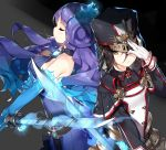 2girls adjusting_headwear backless_outfit bangs bare_shoulders black_capelet black_hair black_hat black_jacket blue_fire blue_hair breasts brown_eyes capelet closed_eyes closed_mouth collarbone dress fire gloves glowing glowing_sword glowing_weapon gradient_hair hair_between_eyes hat holding holding_sword holding_weapon jacket kagutsuchi_(xenoblade) large_breasts long_hair long_sleeves looking_at_viewer medium_breasts meleph_(xenoblade) military military_hat military_uniform multicolored_hair multiple_girls open-back_dress profile purple_dress purple_hair saru simple_background smile sword uniform very_long_hair weapon white_gloves xenoblade xenoblade_2