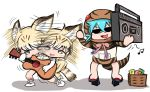 2girls afterimage animal_ears bare_legs bare_shoulders boombox cassette_tape cat_ears cat_tail diznaoto gloves guitar hood hoodie instrument kemono_friends multiple_girls musical_note open_mouth sand_cat_(kemono_friends) sand_cat_print sandals snake_tail speed_lines striped_clothes sunglasses tail thigh-highs tsuchinoko_(kemono_friends)
