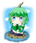 1girl :t bailingxiao_jiu black_legwear blue_eyes blue_sky blush chibi closed_mouth clouds commentary_request cthulhu cthulhu_mythos day dress fur-trimmed_dress fur-trimmed_sleeves fur_trim green_dress green_hair green_wings highres island long_sleeves looking_at_viewer no_shoes ocean outdoors pout sitting sky solo suction_cups tentacle thigh-highs wariza water wings