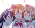 3girls bangs blue_eyes blue_hair blush bokutachi_wa_hitotsu_no_hikari choker closed_eyes commentary_request crying crying_with_eyes_open erutasuku eyebrows_visible_through_hair flower gloves grey_hair hair_between_eyes hair_flower hair_ornament kousaka_honoka long_hair love_live! love_live!_school_idol_project minami_kotori multiple_girls one_eye_closed one_side_up orange_hair sandwiched simple_background smile sonoda_umi tears upper_body yellow_eyes