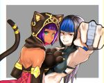 2girls alternate_costume alternate_eye_color alternate_hair_color alternate_hair_length alternate_hairstyle animal_hood armpits back bangs black_hair blue_hair blunt_bangs bob_cut cat_hood cat_paws cat_tail clenched_hand dark_skin dudou elbow_gloves evolution_championship_series eye_(mememem) fang gloves green_eyes grin han_juri hood infiltration long_hair looking_at_viewer medieval menat multiple_girls outside_border paws punching purple_hair red_eyes short_hair smile street_fighter street_fighter_iv_(series) street_fighter_v tail tail_ring