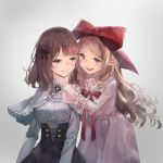 2girls :d :t arm_garter bangs black_bow black_skirt blush bow breasts brown_eyes brown_hair capelet closed_mouth dress frilled_capelet grey_background grey_capelet hair_bow hand_on_another's_chin high-waist_skirt highres kobutakurassyu large_bow leaning_forward long_hair long_sleeves looking_to_the_side medium_breasts multiple_girls open_mouth original parted_bangs pink_dress pointy_ears red_bow red_eyes shiny shiny_hair skirt smile standing sweatdrop upper_body upper_teeth very_long_hair yuri