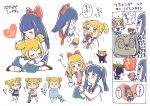 2girls 4koma :3 :3dn alternate_hairstyle aqua_sailor_collar aqua_skirt bangs bkub_(style) blue_eyes blue_shirt blue_swimsuit blush_stickers bow brown_footwear chewing closed_eyes closed_mouth collared_shirt comic eating eyebrows_visible_through_hair food_request gym_shorts hair_bow hair_brush hair_ornament hair_scrunchie hand_on_own_chin heart holding holding_brush hug long_hair long_sleeves looking_at_viewer multiple_girls neckerchief nwn one-piece_swimsuit pajamas parody pipimi poptepipic popuko red_bow red_footwear red_neckwear red_shorts scrunchie shirt short_hair short_sleeves shorts sidelocks simple_background speech_bubble standing style_parody swimsuit translation_request twintails two_side_up wain08 white_background white_legwear white_shirt wing_collar yellow_eyes yellow_scrunchie yuri
