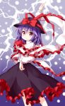 >:) 1girl black_skirt blue_background bow commentary_request cowboy_shot eyebrows_visible_through_hair frills gradient gradient_background hand_on_hip hat hat_bow highres long_sleeves looking_at_viewer nagae_iku pink_eyes purple_hair red_bow ruu_(tksymkw) shawl shirt skirt smile solo standing touhou v-shaped_eyebrows white_shirt