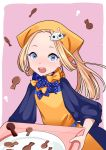 1girl abigail_williams_(fate/grand_order) alternate_headwear apron bangs blonde_hair blue_eyes blush bow character_hair_ornament chocolate commentary_request dress fate/grand_order fate_(series) forehead fou_(fate/grand_order) hair_bow hair_ornament hair_up head_scarf holding holding_tray keyhole long_hair long_sleeves looking_at_viewer miyatsuki_sorako nose_blush open_mouth orange_apron orange_bow parted_bangs pink_background plate polka_dot polka_dot_bow purple_bow purple_dress sleeves_past_fingers sleeves_past_wrists solo tray two-tone_background valentine white_background