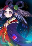1girl artist_name butterfly_wings double_bun hair_ornament highres japanese_clothes kimono kochou_no_sei_(onmyoji) kohanayuki long_hair onmyoji pointy_ears purple_hair solo sparkle violet_eyes wings