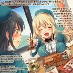 2girls ^_^ ^o^ atago_(kantai_collection) beret black_hair blonde_hair blue_hat chopsticks closed_eyes colored_pencil_(medium) commentary_request dated food hair_between_eyes hat holding_chopsticks kantai_collection kirisawa_juuzou long_hair long_sleeves multiple_girls numbered open_mouth red_eyes short_hair smile takao_(kantai_collection) traditional_media translation_request twitter_username