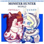2girls animal_ears blonde_hair blue_eyes brown_hair cat_ears diana_cavendish felyne kagari_atsuko little_witch_academia milk_puppy monster_hunter:_world multiple_girls red_eyes translation_request