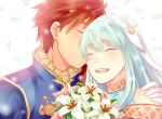 1girl artist_request bare_shoulders blue_hair cape closed_eyes dress eliwood_(fire_emblem) fire_emblem fire_emblem:_rekka_no_ken fire_emblem_heroes hair_ornament kiss long_hair mamkute ninian redhead short_hair smile