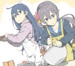 2girls :o ahoge akebono_(kantai_collection) apron baking bell black_sweater blue_hair blue_ribbon blue_sailor_collar blush bowl brown_eyes chocolate closed_mouth collarbone concentrating crab dutch_angle flower grey_eyes hair_between_eyes hair_flower hair_ornament holding jingle_bell kantai_collection long_hair long_sleeves looking_at_viewer looking_to_the_side multiple_girls ninimo_nimo parted_lips pink_sweater purple_hair red_flower ribbed_sweater ribbon sailor_collar side_ponytail sweatdrop sweater tareme two-tone_background ushio_(kantai_collection) v-shaped_eyebrows very_long_hair weighing_scale whisk white_apron x_hair_ornament yellow_apron